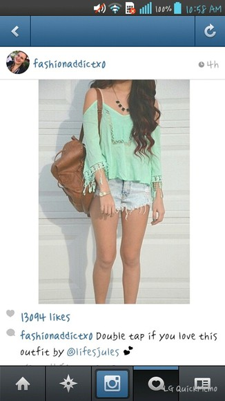 mint green shorts blouse lace vintage summer outfit
