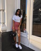 bag,black bag,shoulder bag,leather bag,white sneakers,mini skirt,white t-shirt,sunglasses