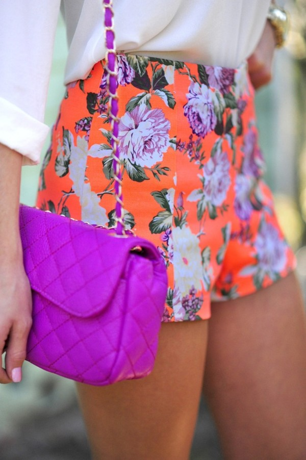 shorts bag purple floral blouse i love them. where can i get them purple bag purse orange shorts bright shorts orange flowers High waisted shorts