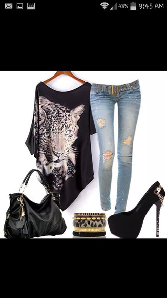 blouse leopard shirt black shirt animal print kitty shirt