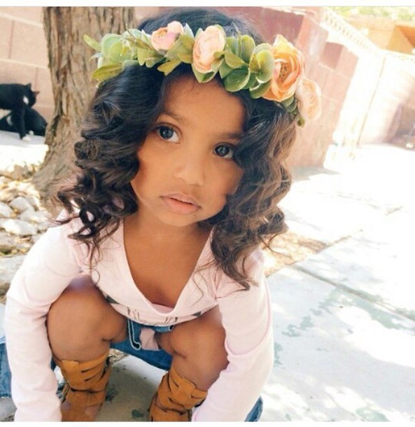 Curly Hairstyle For Toddler : Hair accessory: flowers curly hair skirt kids