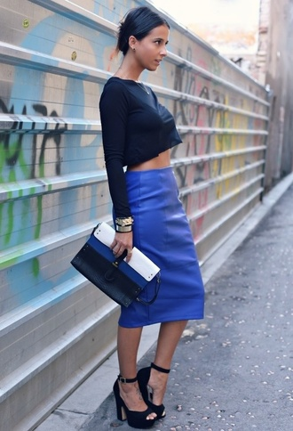 skirt blue skirt leather perfection