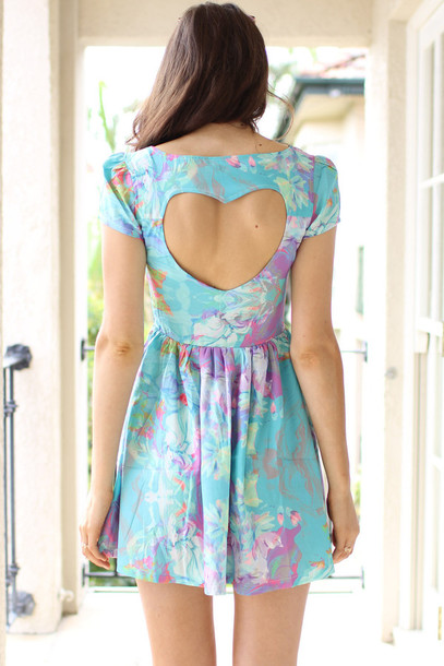 dress clothes heart cutout back skater blue dress heart