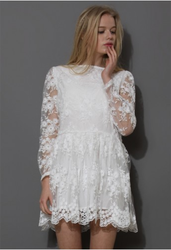 White Full Flower Mesh Dress   - Retro, Indie and Unique Fashion