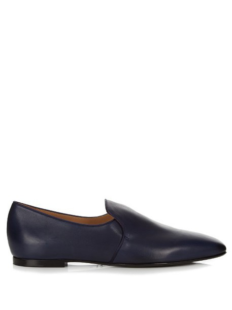 THE ROW Alys leather loafers in navy