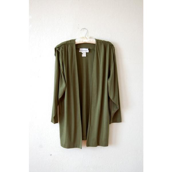 80's MINIMALIST Army Green Blazer Army Green Cardigan