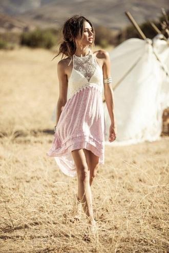dress cream and pink dress boho dress coachella dress bohemian dress hippie gypsy dress pink ivory crochet halter dress