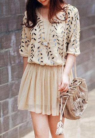 shopbazar shopping mall — [grzxy6601643]Leaf Sequins Stretch Short Sleeve V Neck Pleated Dress