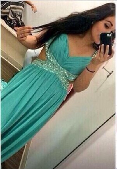 dress turquoise prom dress cut out dress long prom dresses