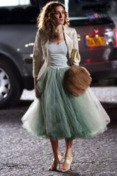 sex and the city,sarah jessica parker,dress,ball gown dress,tulle skirt,maxi dress,prom dress,fur bag,bag