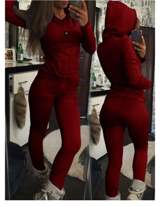 jumpsuit sweater fashion sportswear burgundy trendy brief women's hooded solid color long sleeve hoodie and pants twinset long sleeves red comfy rose wholesale-dec