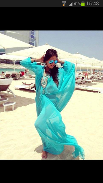 dress beach dress turquoise oriental luxury cover up