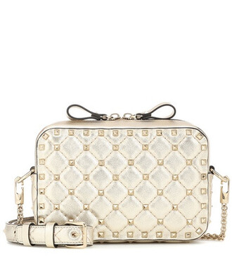 bag crossbody bag leather metallic
