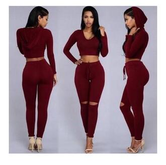 jumpsuit burgundy 2 piece skirt set jacket pants cute
