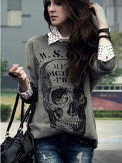shirt,t-shirt,skull,grey,sweater,jeans,rock,black,black bag,lether bag,skull sweater,oversized sweater,ripped jeans,blouse,white blouse,studded,grey skull sweater,skulled sweater,graphic tee,studs,collared shirts,top,punk,rockabilly,spikes,spiked shirt