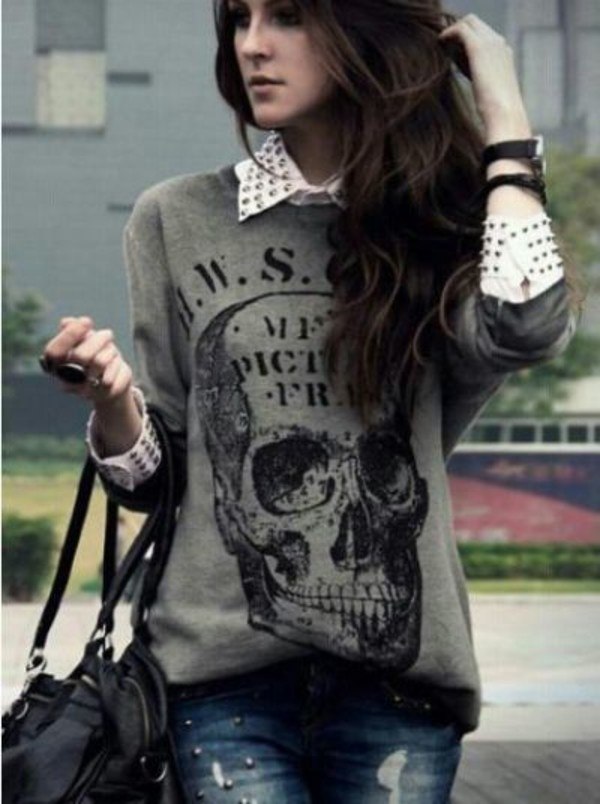 shirt t-shirt skull grey sweater jeans rock black black bag lether bag skull sweater oversized sweater ripped jeans blouse white blouse studded grey skull sweater skulled sweater skull graphic tee studs collared shirts top punk rockabilly spikes spiked shirt grey sweater