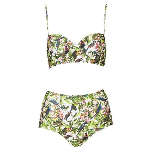 Topshop leaf print high rise bikini