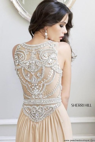 dress sherri hill prom gorgeous cream dress prom dress formal dress prom gown laceback classy dress celebrity girly girls hot sexy beautiful pretty amazing jewels jeweled sparkle shiny glitter glittery beaded dress full back straps nude dress detailed back sheri hill beige pale beaded champagne beaded back cream silver open back long pll ice ball wedding clothes boho chic embroidered wedding dress backless dress gold sequin dress ed bridal evening dress beige dress diamonds