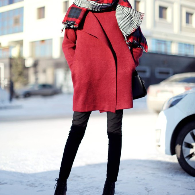 scarf bag shoes hat cardigan winter outfits blogger red coat aibina's blog scarf red
