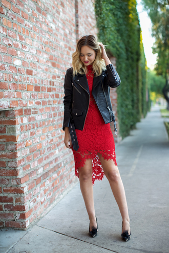 late afternoon blogger red lace lace dress red lace dress perfecto leather jacket date outfit