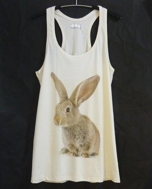 shirt bunny tank top rabbit tank top tunic top tunic dress women tops cute tank top racerback tank top clothes