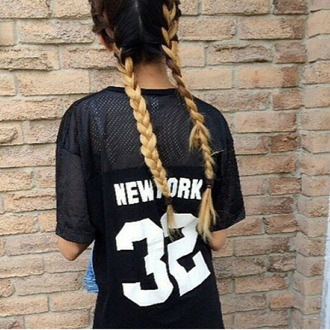 t-shirt new york city 32 black and white grunge new york 32 top ombre hair new york top mesh hair plait casual cool trendy shirt black shirt white shirt black and white skirt new york shirt number see through top see through blouse see through black shirt streetwear streetstyle urban blouse