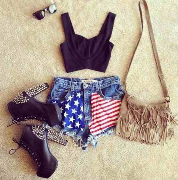 short usa american flag shoes shorts jeans denim shorts skirt sunglasses bag t-shirt