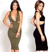 dress,cici hot,olive green,black,bodycon,midi dress