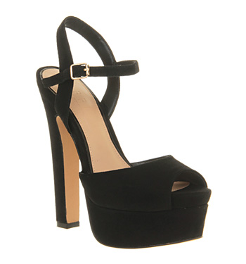 Office Right On Time Black Suede - High Heels