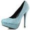 Glitter stiletto high heel pump round toe platform clubwear dress turquoise blue
