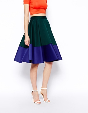 ASOS | ASOS Color Block Midi Skirt In Scuba at ASOS