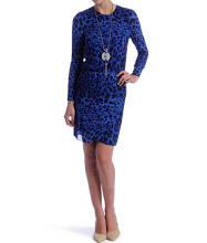 Dv by Dolce Vita 'Leppie' Blue Leopard Print Long Sleeve Dress Blue