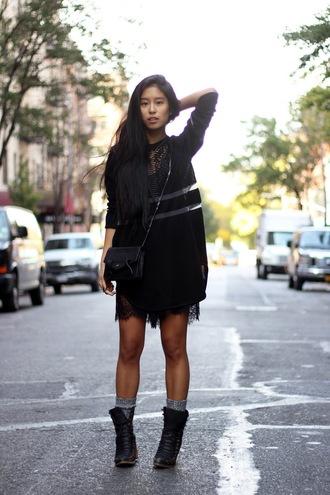 kristenglam blogger sweater romper black rock socks lace alexander wang