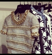 blouse,beaded,knitted top,shirt,grey t-shirt,gold,gold chain,top,crop tops,gold shirt,t-shirt,silver,luxury,chanel,necklace,glitter,black crop top,dress,white,white crop tops