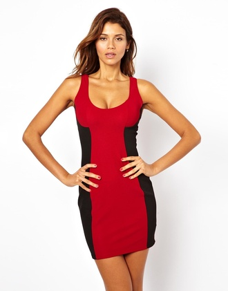 dress bodycon dress red dress colorblock party outfits