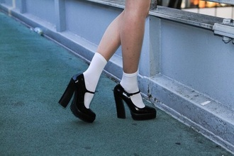 shoes black black shoes heels high heels style thick heel patent shoes clothes black heels straps platform shoes pumps