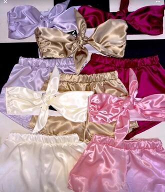 pajamas purple beige pyjama shorts silk shorts pyjamas silk sleepwear sleep sleeping set cute beautiful shorts