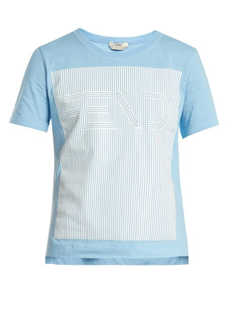 Fendi t-shirt shirt t-shirt cotton print light blue light blue top