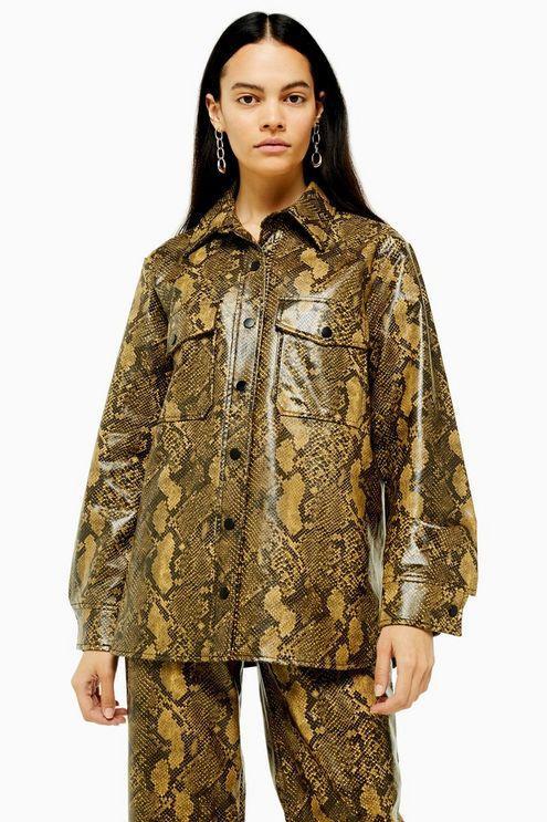 Snake Faux Leather Pu Shirt - Yellow
