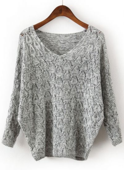 New 2014 Spring Fashion Clothes Plus Size Hot Sale East Knitting Grey V Neck Long Sleeve Hollow Women Sweaters And Pullovers-in Pullovers from Apparel & Accessories on Aliexpress.com