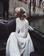 dress,prom,white,gown,lace,beautiful,maxi dress,white long dress,white dress,long sleeve lace dress,lace dress,long sleeve dress,romantic dress,wedding hairstyles,hairstyles