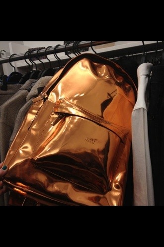 bag gold ami shiny tumblr backpack metallic bookbag brand edgy swag gorgeous bronze shiny bag shiny backpacks dope cute cool girl summer clothes stylish style trendy blogger fashionista chill rad pretty on point clothing