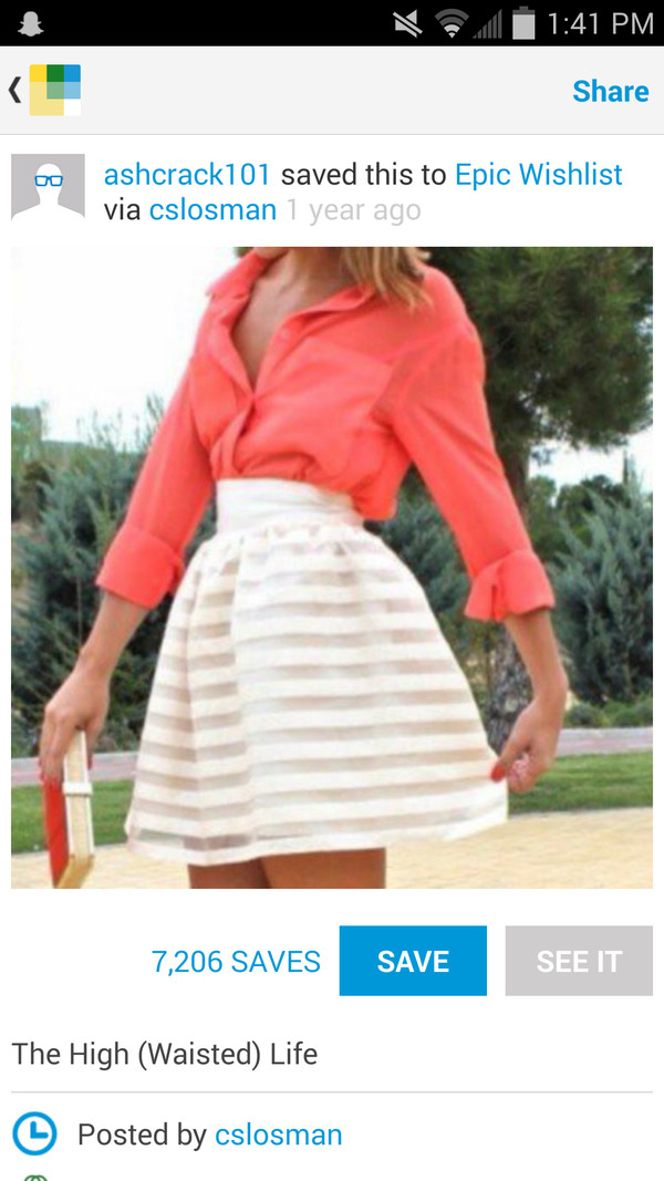 skirt high waisted skirt stripes coral