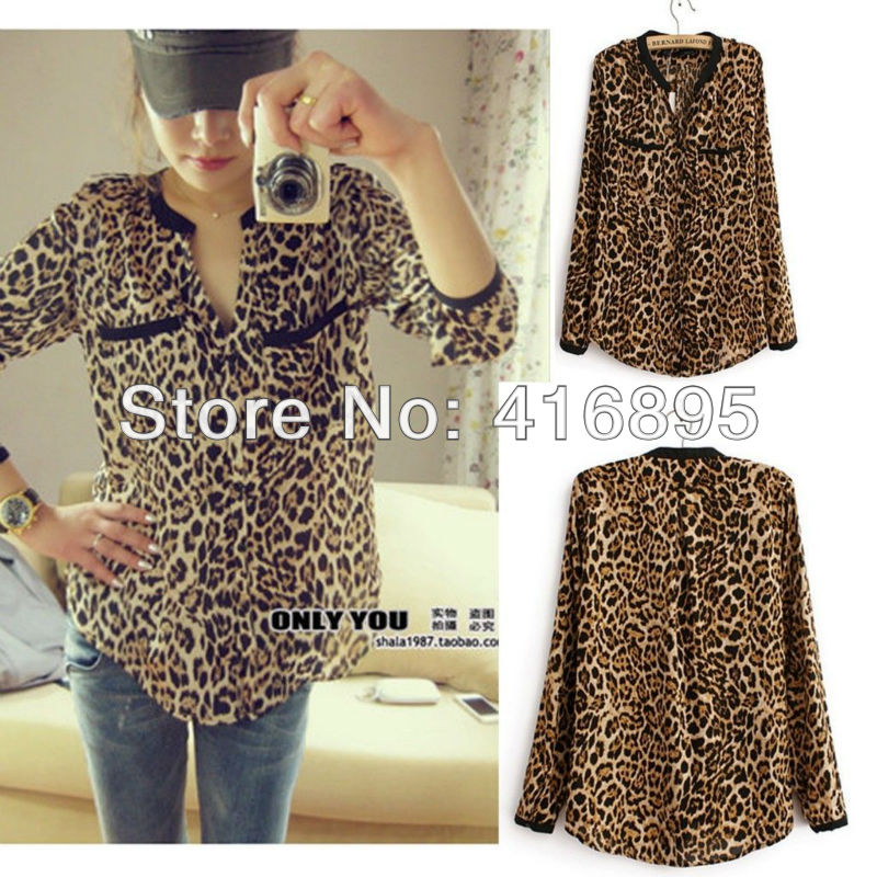 Heißer verkauf sexy women casual wilden Leoparden shirt mit langen  Ärmeln top hemdbluse 12240113