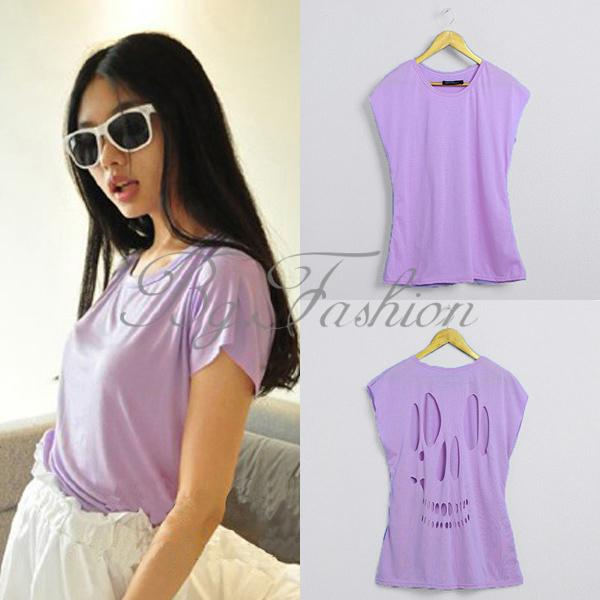 Sexy womens cut out back skull tops sleeveless t shirt chiffon vest tops 3 color