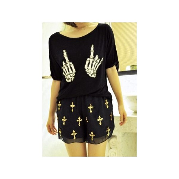 Black Round Neck Turn Back Short Sleeve Skeleton Hand Print... - Polyvore