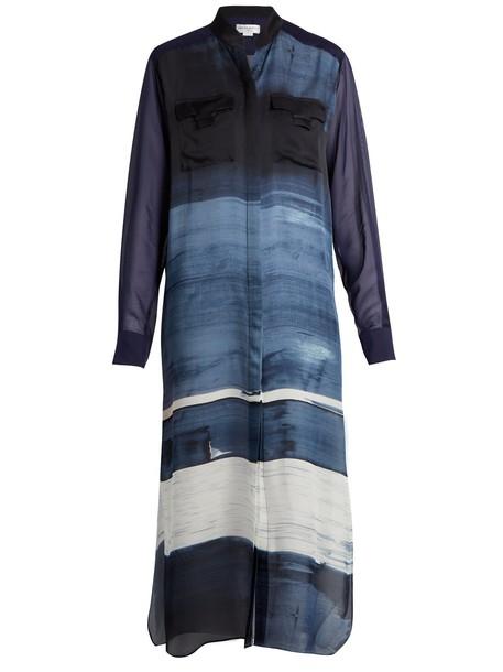 Amanda Wakeley shirtdress silk satin blue dress