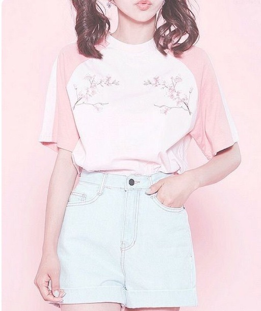 t-shirt light pink floral embroidered korean  fashion