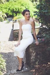 dress,sheath dress,sheath dresses,strapless,cocktail,cocktail dress,white,ivory,wedding,bride,bridal,bridal dress,fancy,formal,midi,midi length,column dress,wedding dress