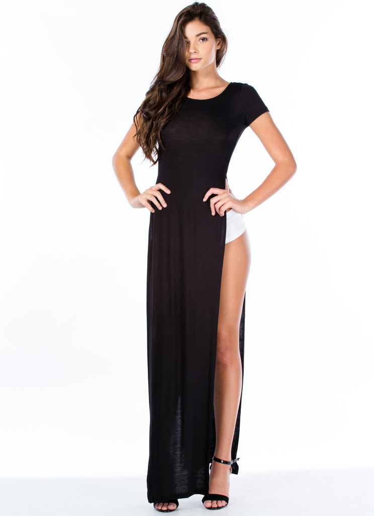 """""""trendy betch"""" side split maxi top (4 colors available) – glamzelle"""